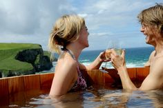 Bubbles, anyone? In a cliff top hot tub? #Cornwall