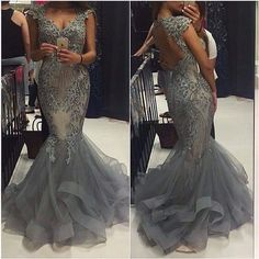 Gray Prom Dress,Lace Tulle Prom Dress,Evening Gowns