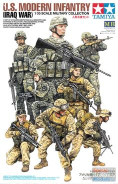 TAM32406 1:35 Tamiya US Modern Infantry (Iraq War) Figure Set Military Figures, Military Art, Military History, Army Drawing, Ww2 Pictures, Army Infantry, Iraq War, Special Forces, Box Art