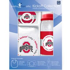 Start your little fan off with this thee piece Ohio State baby pacifier, bib and bottle set. Ohio State Baby, Buckeyes, Baby & Toddler Clothing, Infant, Bottle, Baby, Flask, Baby Humor, Babies
