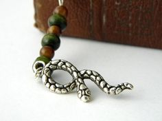 Snake Bookmark with Brown and Green Beads by hiddentreasure, $5.00