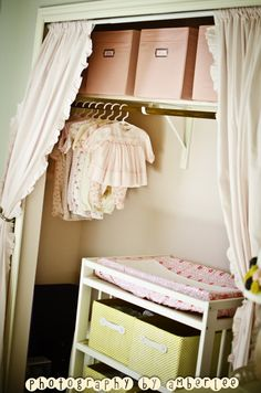 Running out of space in nursery? Take doors off closet. Put changing table in closet. I did this when Paiton was a baby. Cute Curtains, Closet Curtains, Closet Doors, Ruffled Curtains, Girl Nursery, Girl Room, Grey Yellow Nursery, Spearmint Baby, Space Projects