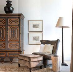Suzie: Catherine Dolen & Associates - Ebanista Brussels Armoire, gray velvet, wingback chair & ...