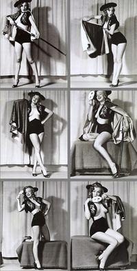 "Marilyn Monroe posing for Earl Moran,  ""The Spanish Girl"", 1949."