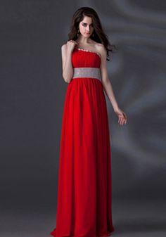 A line Floor Length One Shoulder Empire Waist Chiffon Evening Gowns With Beading - 1300305999B - US$199.99 - BellasDress