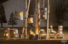 Natale TonoSUTono | Allestimento suggestivo con Candele tronco con cuori e stelle