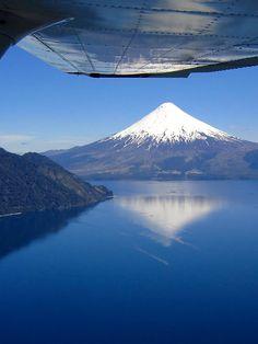 Flying above lago todos los santos, chile