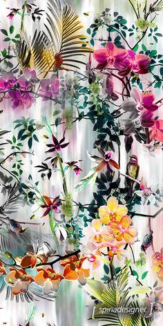 Walter Spina | Estampa Musse Textile Prints, Textile Patterns, Print Patterns, Motif Floral, Floral Prints, Image Deco, Iphone Wallpaper, Orchid Wallpaper, Vintage Diy