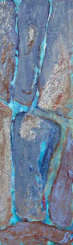 Coup de cœur du concours peinture abstraite sur www.myrankart.com Life Lines - Ocean, Acrylic On Canvas, 80 X 30cm by Susan Sieg