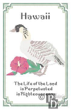 New to robinsdesign on Etsy: Hawaii State Bird Flower and Motto Cross Stitch Pattern PDF (5.00 USD)