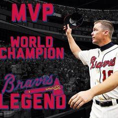 Yes a true Atlanta brave legend! Chipper Jones, Braves Baseball, Sport Icon, Atlanta Braves, Champion, Sports, Georgia, Career, Idol