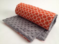 Orange Baby Blanket Circles Grey Minky by Lilbeautique on Etsy, $35.00