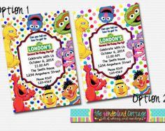 Sesame Street Invitation Sesame Street by BandBPrintables on Etsy