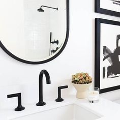 Collection: Jason Wu for Brizo • Finish: Matte Black • Product: Widespread Lavatory Faucet • Space designed by: Oralndo Soria • Photographer: Tessa Neustadt