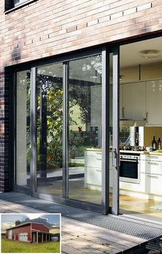 A 3 Leaf Aluminium Bi Fold Door In Mouse Grey Ral 7005