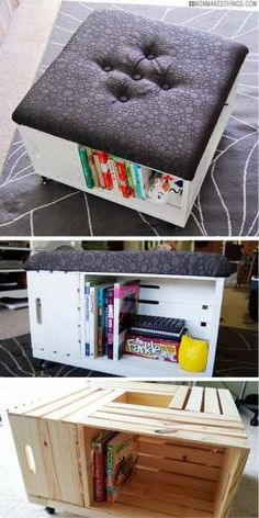 DIY Storage Ottoman storage ottoman 25 Cool DIY Furniture Hacks That Are So Creative Diy Furniture Renovation, Diy Furniture Hacks, Repurposed Furniture, Cheap Furniture, Furniture Makeover, Furniture Online, Furniture Storage, Luxury Furniture, Diy Furniture Repurpose