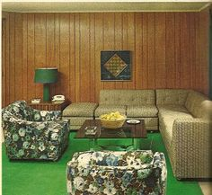 """Acres of fake wood panelling. """"Woman's Day"""" March 1969"""