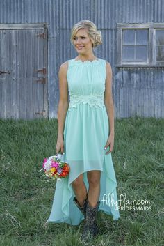 Romance in High-Low Bridesmaid in Mint - Bridesmaids