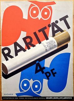 c1930 German CIGARETTE Advertising Poster Art RARITAT Tobacco * Hadank * Offset