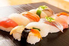 """寿司 Sushi  To make the fresh fish taste even better, only the best rice is used. In sushi shops, rice is called """"gin shari""""."""