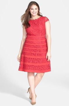 A bold pop of color in this Adrianna Papell Banded Stripe Lace Dress (Plus Size)… Plus Size Dresses, Plus Size Outfits, Vestidos Chiffon, Vestidos Plus Size, Girl Fashion, Fashion Outfits, Modest Fashion, Red Cocktail Dress, Vestidos Vintage