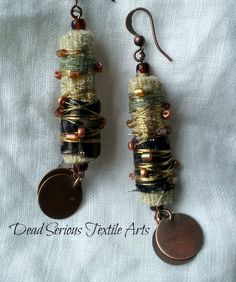 Copper and Fiber Bead Earrings by DeadSerious2010 on Etsy, $25.00