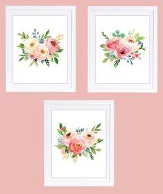 Set of 3 Floral Prints, Floral Nursery Prints, Boho Floral Prints, Rose Decor, Peony Prints, Rose Nursery Art, Girls Nursery Art by DuneStudio on Etsy