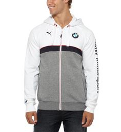 When there's a chill in the grandstand or beyond, this BMW Motorsport sweat jacket will keep you cozy without sacrificing style. It features a softer-than-soft construction, modern design, and just enough branding to let people know how much you love the sport.Features: 80% Cotton, 20% Polyester for long wear and comfort Hood with drawcord for added coverageFull-front zip for adjustable ventilationBMW Motorsport Logo and PUMA Cat Logo for instant sporty style