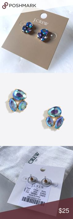 "New J Crew Blue Crystal Trio Statement Earrings Gorgeous pair of earrings! The color is a bluish purple! New with tags. Comes with pouch!   Zinc, epoxy stone, glass stone Light gold ox flash plating 1/2""L x 1/2""W Import J. Crew Jewelry Earrings"