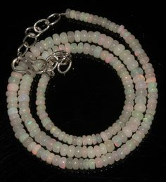 """41Ctw1Necklace 3to4.5mm 16"""" Beads Natural Genuine Ethiopian Welo Fire Opal 95321"""