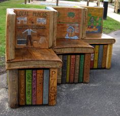 Oak double-sided BOOK BENCH by Justin Illusions Creative Studios of Ayrshire, SCOTLAND. Concept and illustration by students of Clarkston Primary School, North Lanarkshire. So cute! Trompe L'oeil Books.