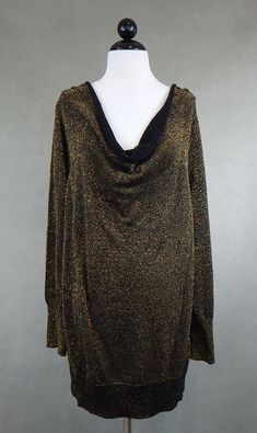 WALTER BAKER $98 Black Gold Sparkle Metallic Draped Neck Knit Sweater Top 2X ? #WalterBaker #CowlNeck