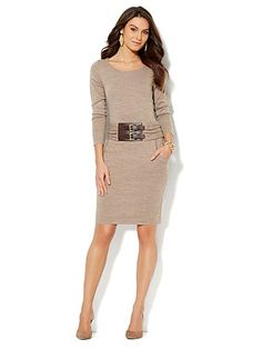Shop Belted Sweater Dress. Find your perfect size online at the best price at New York & Company.