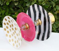 Cupcake Stand Gold Pink Black Painted 3 Tier by RedEggBoutique