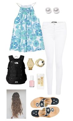 preppy back to school!!! by gabbbsss on Polyvore featuring Lilly Pulitzer, J Brand, Jack Rogers, The North Face, Nouv-Elle, Michael Kors, Kate Spade and Essie