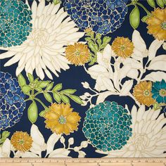 Designer Floral Pillow Cover / Asian Inspired / Navy by Loubella1