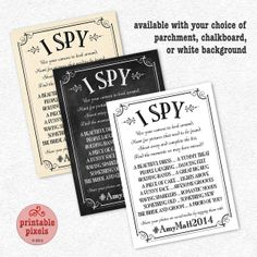 I Spy Wedding Game 5x7 Personalized Printable by PrintablePixels, $6.00