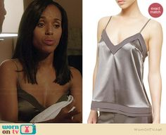 Olivia's grey pajama cami on Scandal.  Outfit Details: http://wornontv.net/37205/ #Scandal