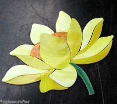 Lotus Waterlily precut stained glass mosaic inlay kit. Many original designs selling on ebay.