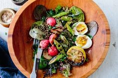 GROWING A BOWL OF LETTUCE: LENTIL SALAD WITH SPRING GREENS, ASPARAGUS, AND AN EGG