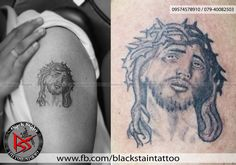 Tattoo of jesus christ tattoo and it also resembles the religion christianity done by DHARMESH MAGRA of BLACK STAIN TATTOO STUDIO