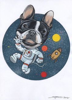 Frenchie , French Bulldog as a space man illustration by Jeroen Teunen