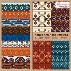 NATIVE AMERICAN PATTERNS - Digital Scrapbooking Paper by Flavoree, $5.00