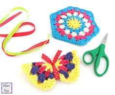 How to Make a Granny Hexagon Butterfly! Photo and video tutorial on Fiber Flux