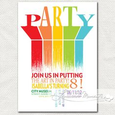 Art Birthday Party Invitation - Rainbow Printable Invite. $20.00, via Etsy.