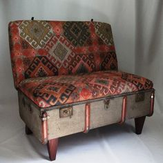 Suitcase Chair – Kilim A worn out vintage canvas trunk is recreated into a suitcase chair with a steel and timber reinforced internal structure, tapered timber legs and beautifully upholstered in soft Kilim style fabric.