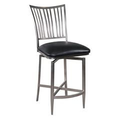 Black Brushed Nickel Swivel Counter Stool   Overstock.com Shopping - Great Deals on Bar Stools