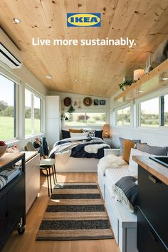 We built it from the ground up to prove that anyone, anywhere can lead a more sustainable lifestyle and reduce their carbon footprint. #GreenLiving #EcoFriendlyLiving #TinyHouse #TinyHome Buy A Tiny House, Tiny Houses For Sale, Small Houses, Tiny Cabins, Cabins And Cottages, Prefab Cabins, Tiny Living, Living Spaces, Living Room