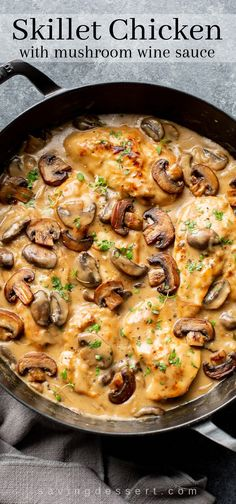 Tender and flavorful, this Skillet Chicken and Mushroom Wine Sauce is easy enough for a weeknight family dinner and good enough for an elegant dinner party with your best company. meat Skillet Chicken and Mushroom Wine Sauce - Saving Room for Dessert Mushroom Wine Sauce, Mushroom Chicken, Chicken And Mushroom Recipe Healthy, Recipes With Chicken Broth, Different Chicken Recipes, Mushroom Ravioli, Easy Brunch Recipes, Healthy Dinner Recipes, Dessert Recipes