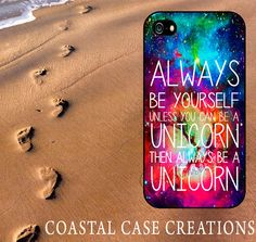 Galaxy Space Unicorn Quote Apple iPhone 4 and 5 Hard Plastic or Rubber Phone Case Cover Original Design on Etsy, £11.72